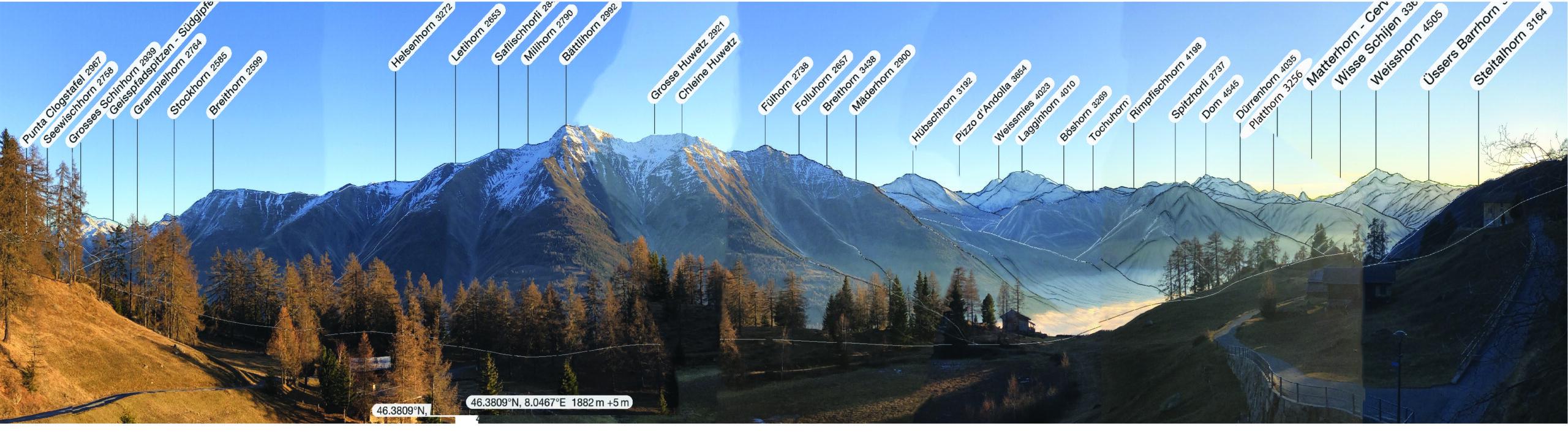 Panorama mit Bergnamen